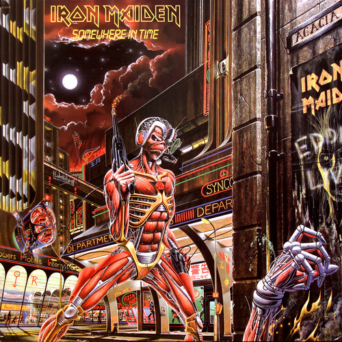 Iron Maiden wallpaper probably with a street, a tobacco shop, and Anime called Somewhere in Time