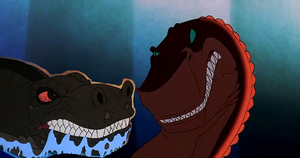 The Land Before Time crossover: Sharptooth VS Rex