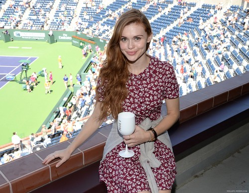Holland Roden wallpaper possibly with a sundress, a playsuit, and a mother hubbard titled The Moet And Chandon Suite At The 2015 BNP Paribas Open
