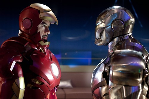 Iron Man wallpaper possibly with a breastplate titled Tony and Rhodey fights in Malibu Mansion - Iron Man 2