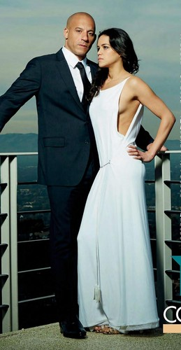 मिशेल रोड्रिगेज़ वॉलपेपर containing a business suit called Vin Diesel and Michelle Rodriguez in Hello! Magazine Russia - 2013