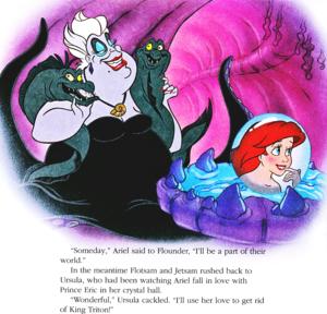 Walt ডিজনি Book প্রতিমূর্তি - Flotsam, Ursula, Jetsam & Princess Ariel