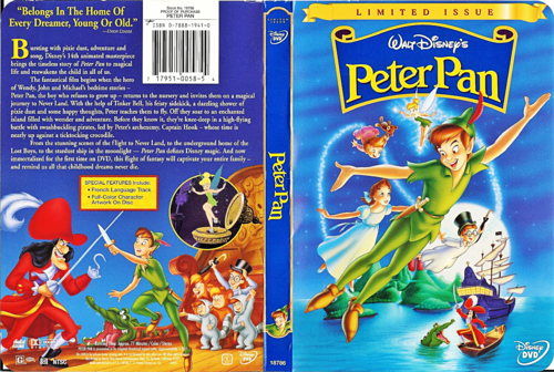 Walt Disney Characters achtergrond containing anime titled Walt Disney DVD Covers - Peter Pan: Limited Issue