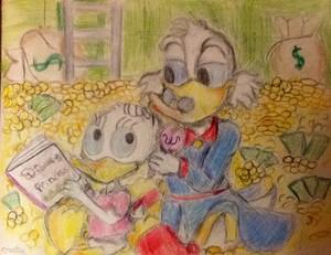 Walt 迪士尼 粉丝 Art - Uncle Scrooge McDuck & Webbigail 'Webby' Vanderquack