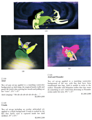 Walt Disney Production Cels - Princess Ariel, Ursula menggelepar, flounder