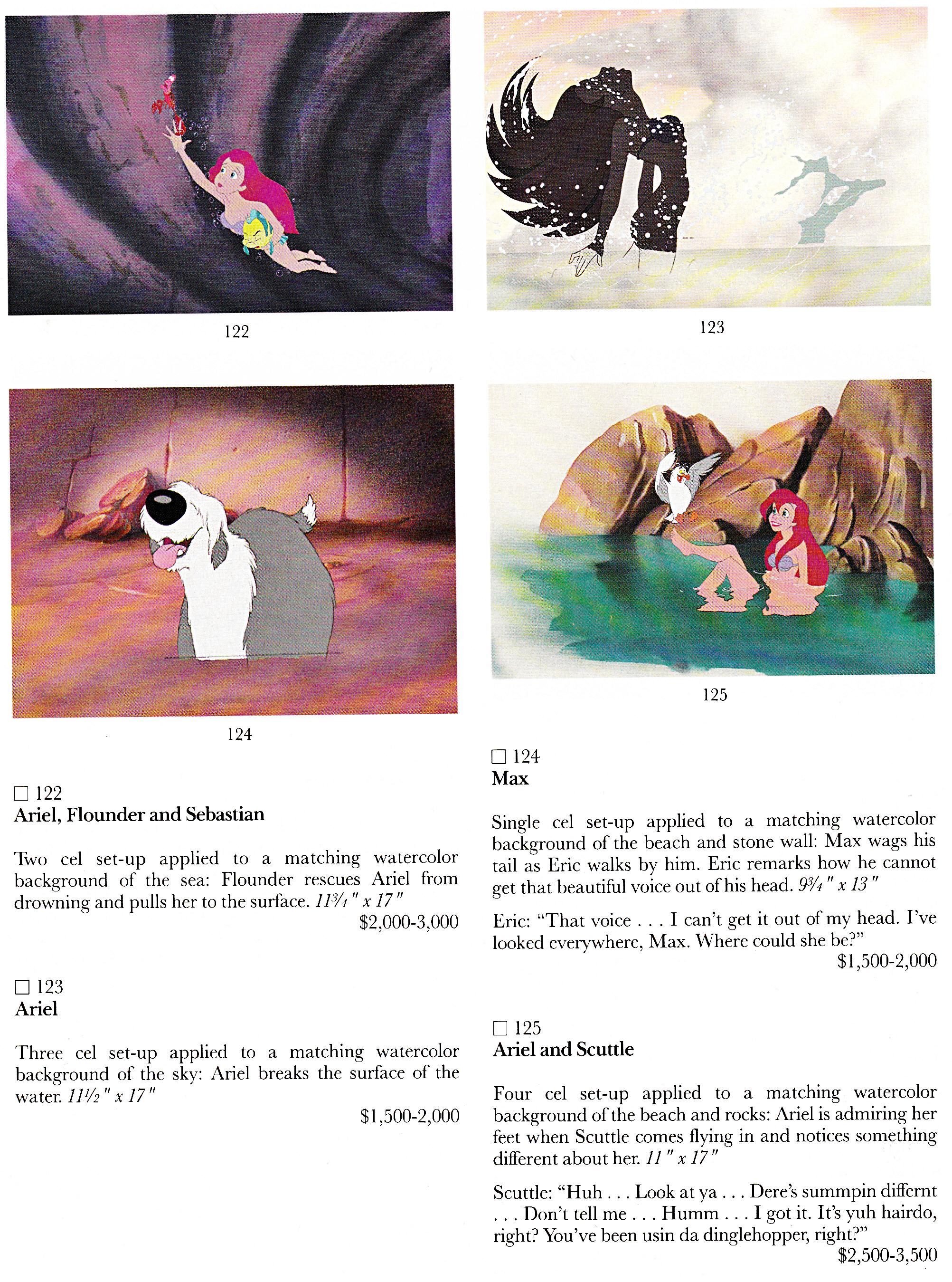 Walt 디즈니 Production Cels - Sebastian, Princess Ariel, Flounder, Max Scuttle