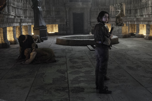 House Stark wallpaper with a street and a portcullis entitled arya stark