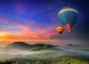 balloon ride at sunset