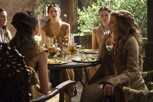 Margaery Tyrell wallpaper with a dinner table, a brasserie, and a bistro called margaery and ladies-in-waiting