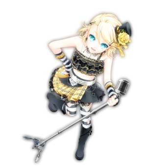 rin kagamine= vocaloid meaning she is an Anime singer