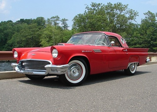 Ford Wallpaper With A Convertible And Coupe Called 1957 Thunderbird