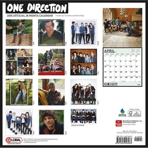 একমুখী দেওয়ালপত্র probably with a newspaper entitled 1D's Official calendar 2016