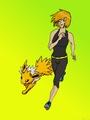 A Girl and Her Jolteon - pokemon fan art