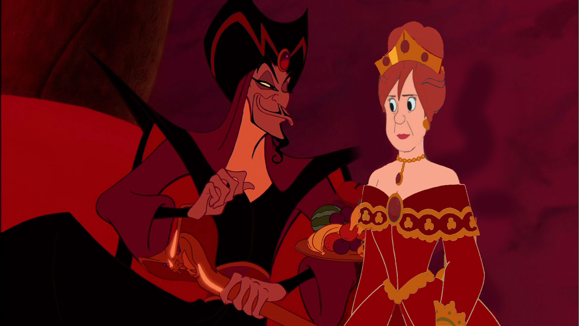 anastasia Tremaine and Jafar as their Once Upon A Time In Wonderland counterparts