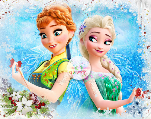 Frozen Fever Hintergrund possibly with a bouquet titled Anna and Elsa