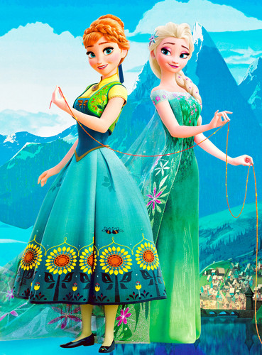 Frozen Fever Hintergrund probably containing a polonäse, polonaise and a abendessen dress entitled Anna and Elsa