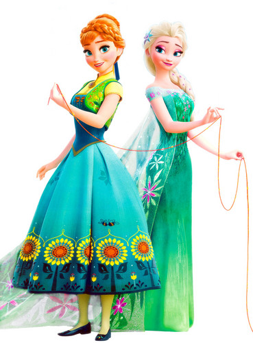 Frozen Fever Hintergrund possibly containing a polonaise, a abendessen dress, and a kleid called Anna and Elsa