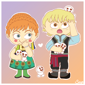 Anna and Kristoff with Snowgies