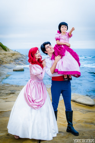 Princesses Disney fond d'écran possibly with a polonaise and a bridesmaid titled Ariel, Eric and Melody Cosplay