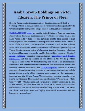Asaba Group Holdings on Victor Edozien - The Prince of Steel