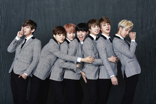 BTS wallpaper possibly with a well dressed person and an outerwear entitled BTS 2nd Anniversary 가족사진 'Real Family Picture' part.1