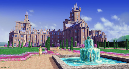 Barbie فلمیں پیپر وال probably with a fountain, a street, and a mansion entitled Barbie and the Secret Door - Concept Art