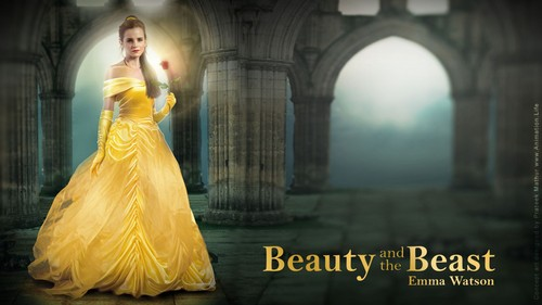 Beauty and the Beast (2017) wallpaper probably with a gown, a bridesmaid, and a dinner dress called Belle