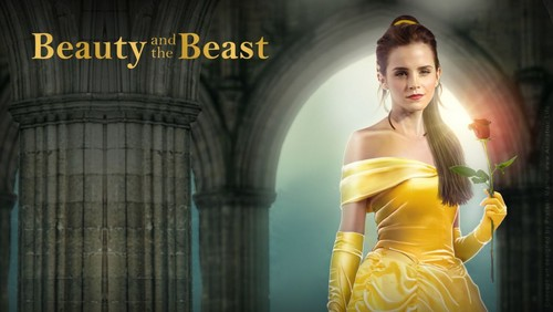 Beauty and the Beast (2017) hình nền probably with a cốc-tai, cocktail dress, a bữa tối, bữa ăn tối dress, and a strapless titled Belle