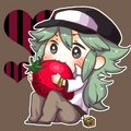 Chibi N eating a strawberi