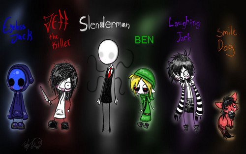 Horror films achtergrond called Creepypasta characters