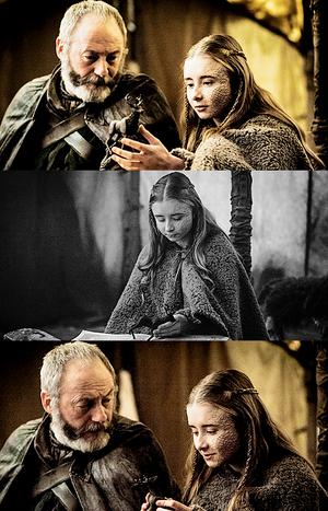 Davos Seaworth and Shireen Baratheon