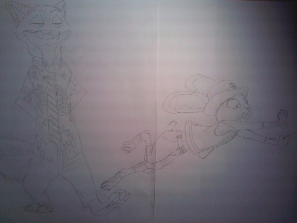 DogDrawler's Drawing of Nick and Judy (Complete Draft)