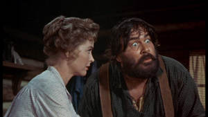 Dorothy McGuire as Katie Coates and Jeff York as Bud Searcy in Old Yeller
