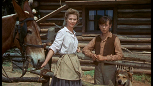 Dorothy McGuire as Katie Coates and Tommy Kirk as Travis Coates in Old Yeller