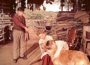 Dorothy McGuire with Tommy Kirk and Kevin Corcoran in Old Yeller