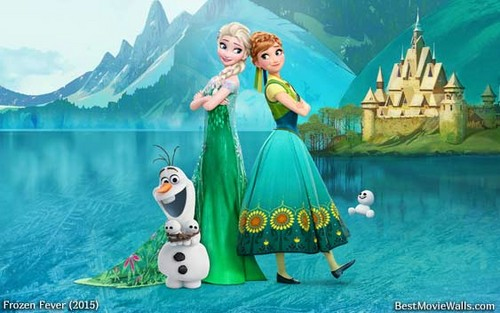 Frozen Fever Hintergrund titled Elsa, Anna and Olaf
