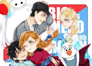 Elsa, Anna and Olaf with Hiro, Tadashi and Baymax