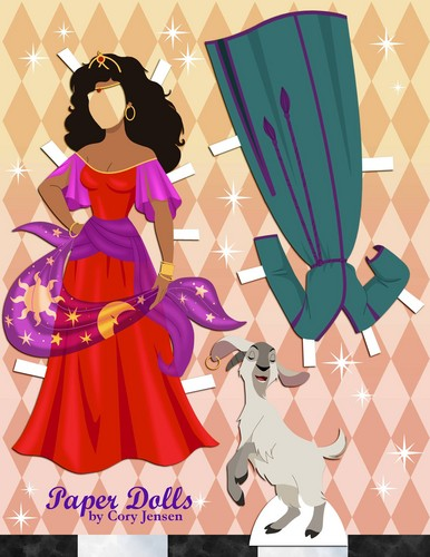 Disney Extended Princess karatasi la kupamba ukuta possibly containing a chainlink fence titled Esmeralda Paper Doll