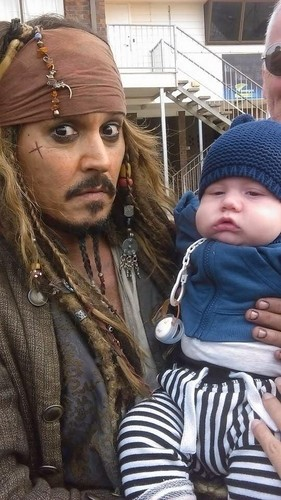 Johnny Depp wallpaper possibly containing a street titled Johnny meets little fans on set of POTC 5 (June 2015)