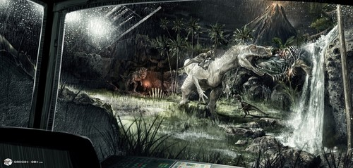 jurassic world wallpaper probably containing a carriageway, a diner, and a air mancur entitled Jurassic World - Concept Art