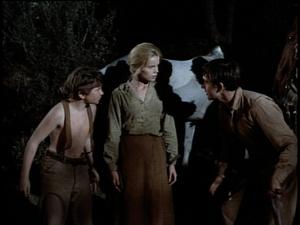 Kevin Corcoran as Arliss, Marta Kristen as Lisbeth and Tommy Kirk as Travis in Savage Sam