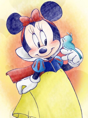 Minnie माउस dressed as Snow White