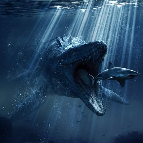 Jurassic World kertas dinding called Mosasaur