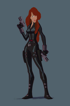 Odette as Black Widow from The Avengers (long hair)
