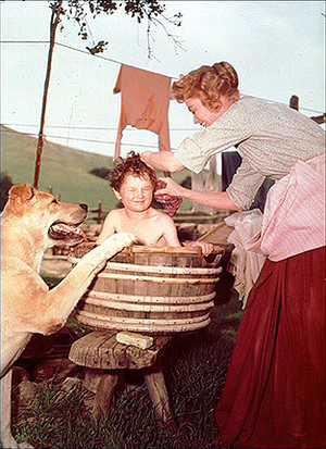 Old Yeller - Behind the Scenes - Spike, Kevin Corcoran and Dorothy McGuire
