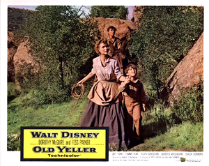 Old Yeller Lobby Card - Katie, Travis and Arliss Coates