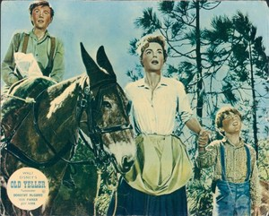 Old Yeller Lobby Card - Travis, Katie and Arliss Coates