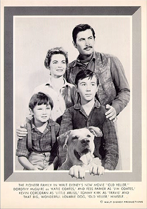 Old Yeller Portrait - Dorothy McGuire, Fess Parker, Tommy Kirk and Kevin Corcoran