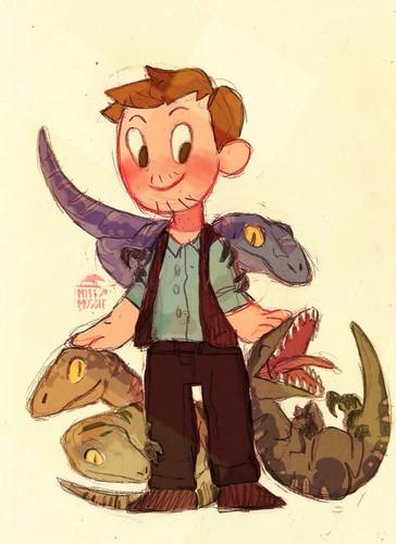 Jurassic World karatasi la kupamba ukuta probably containing anime called Owen and his Velociraptors