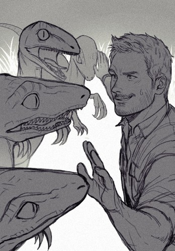 Jurassic World achtergrond with anime entitled Owen and his Velociraptors